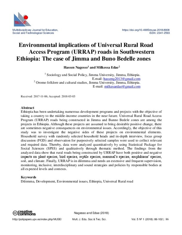 Environmental implications of Universal Rural Road Access