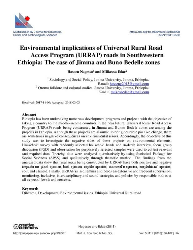 Environmental implications of Universal Rural Road Access