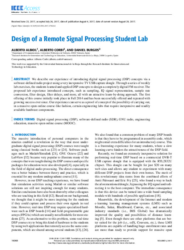 Design of a Remote Signal Processing Student Lab