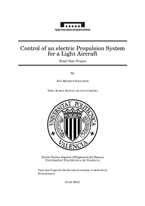 Control of an electric propulsion system for light aircraft