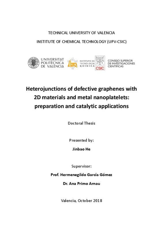 Heterojunctions of defective graphenes with 2D materials and metal