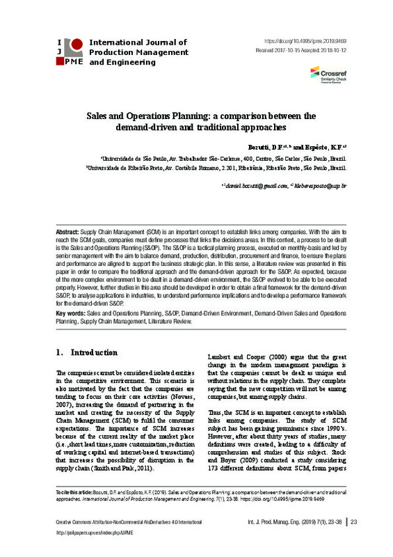 Sales and Operations Planning: a comparison between the