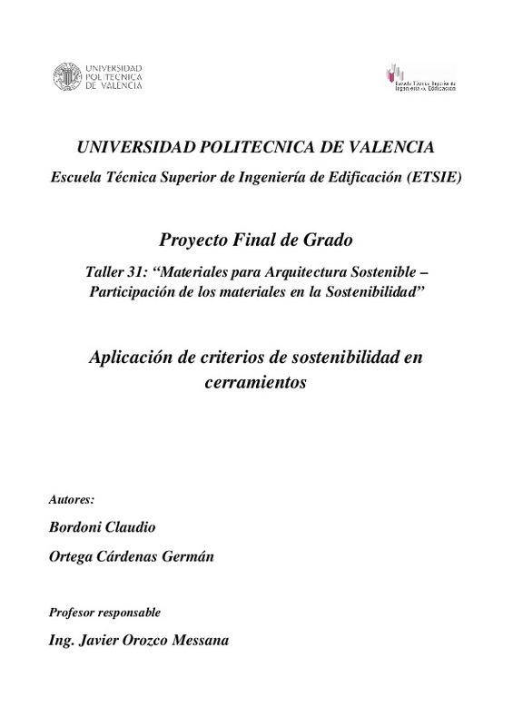 Proyecto Final De Grado Aplicación De Criterios De Sostenibilidad En