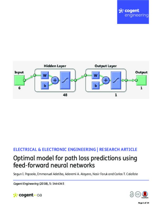 Optimal model for path loss predictions using feed-forward