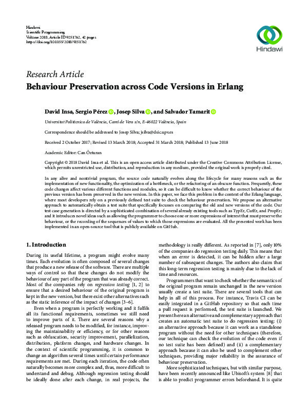 Research Article Behaviour Preservation across Code Versions