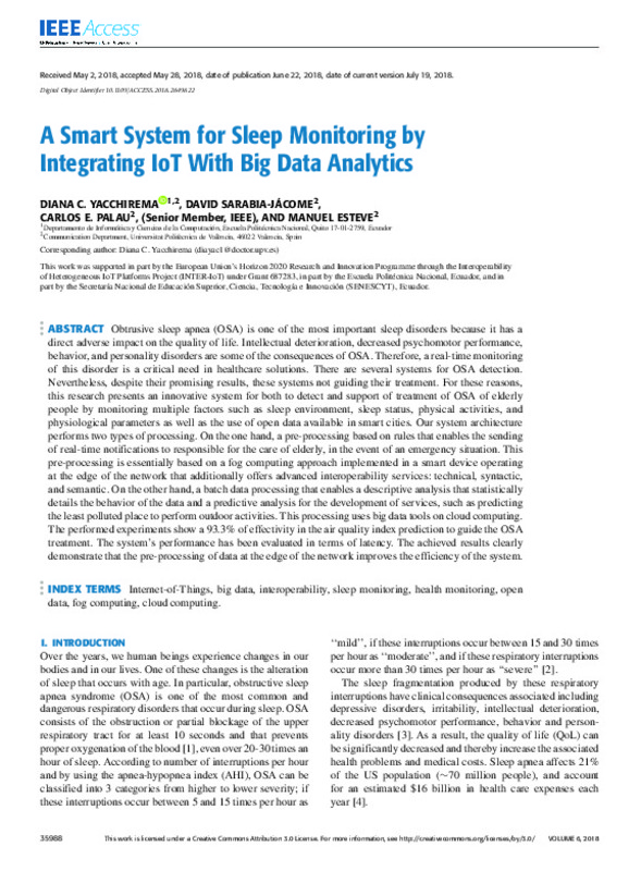 A Smart System for Sleep Monitoring by Integrating IoT With Big Data
