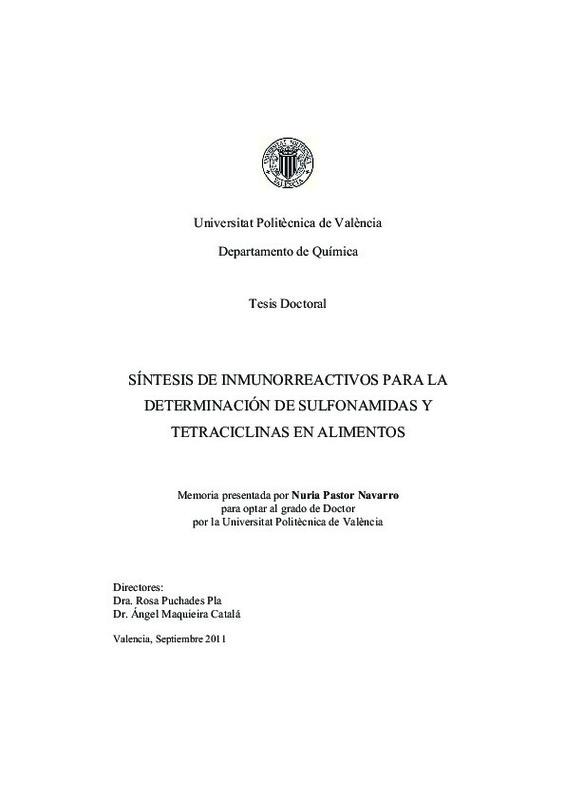 SÍNTESIS DE INMUNORREACTIVOS PARA LA DETERMINACIÓN DE SULFONAMIDAS Y