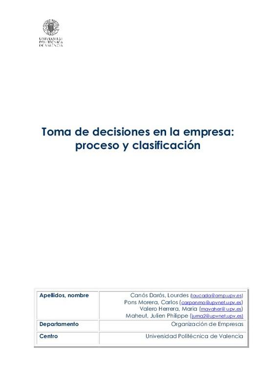 Toma De Decisiones En La Empresa Proceso Y Clasificación