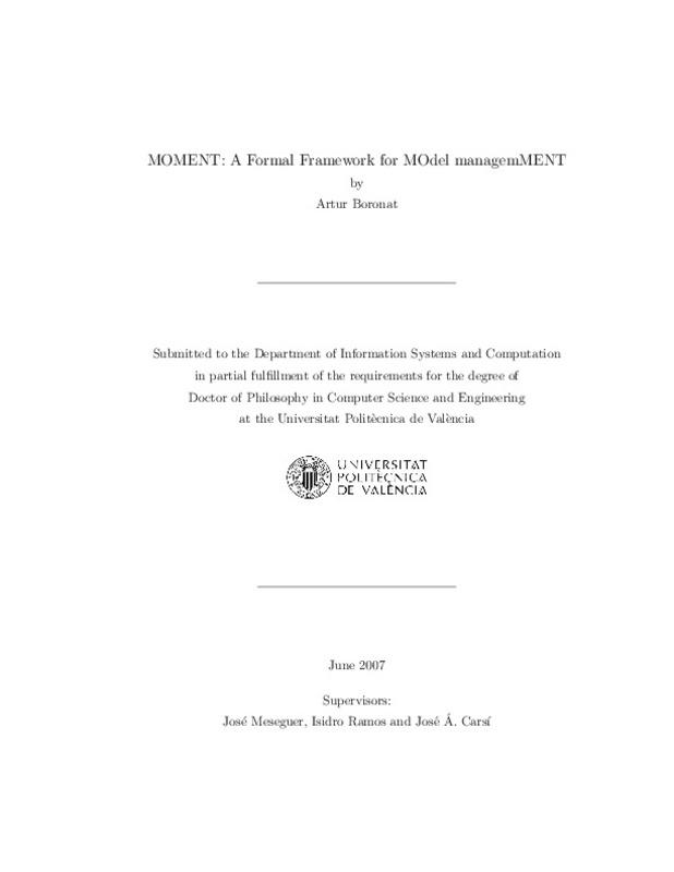 MOMENT: A formal framework for MOdel manageMENT