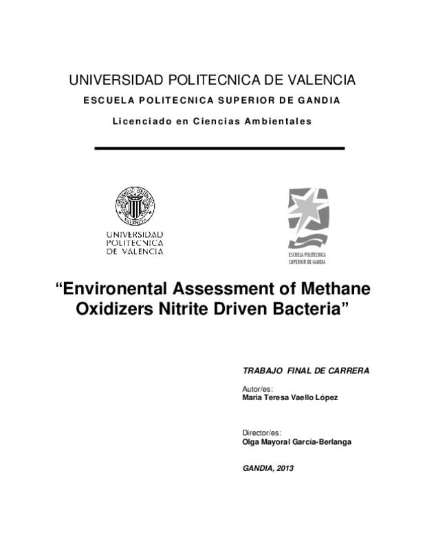 Environental Assessment of Methane Oxidizers Nitrite Driven Bacteria""