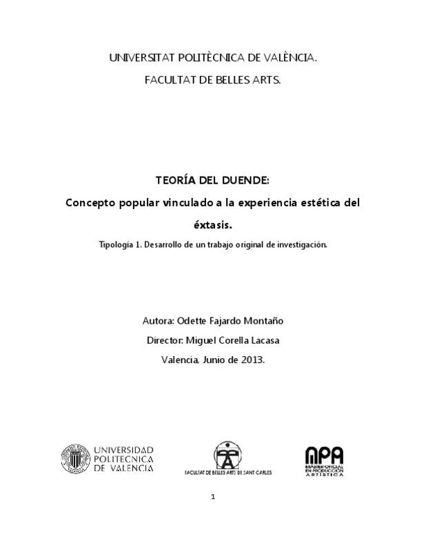Universitat Politècnica De València Facultat De Belles Arts