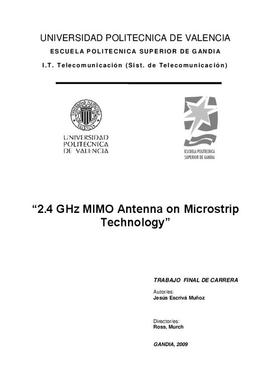 2 4 GHz MIMO Antenna on Microstrip Technology""