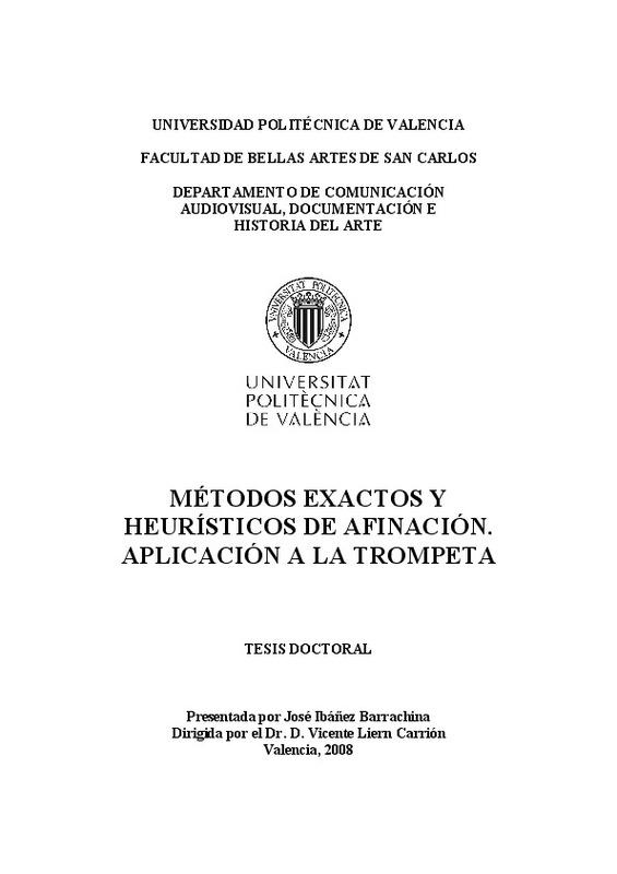 Metodos Exactos Y Heuristicos De Afinacion Aplicacion A La Trompeta