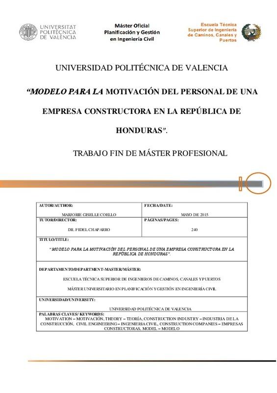 Universidad Politécnica De Valencia Modelo Para La