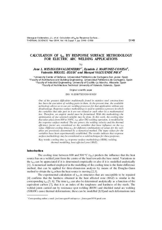 CALCULATION OF t8/5 BY RESPONSE SURFACE METHODOLOGY FOR ELECTRIC ARC