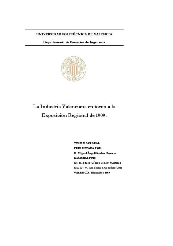 La Industria Valenciana en torno a la Exposición Regional de