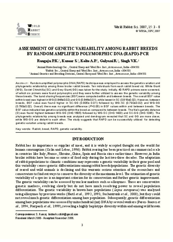 ASSESSMENT OF GENETIC VARIABILITY AMONG RABBIT BREEDS BY