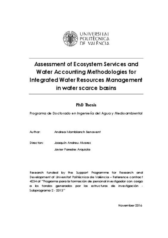 Assessment of Ecosystem Services and Water Accounting Methodologies
