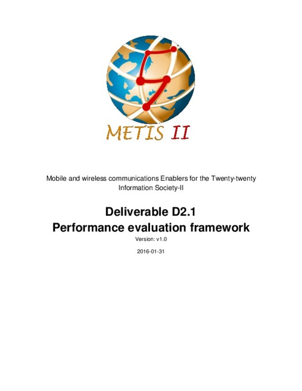 Deliverable D2 1 Performance evaluation framework