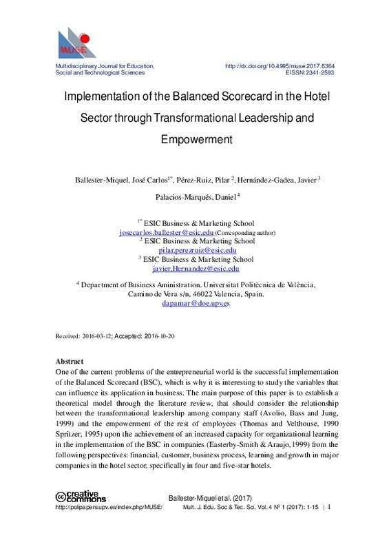 Implementation of the Balanced Scorecard in the Hotel Sector through