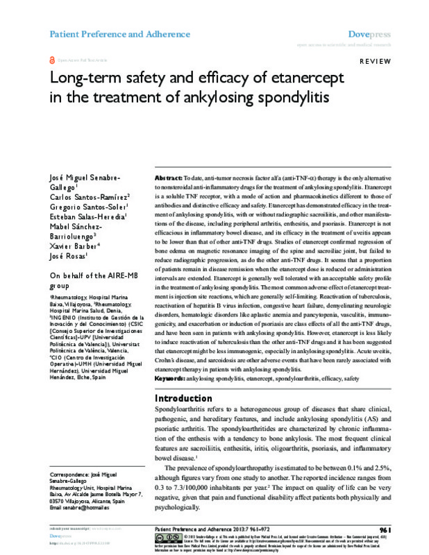 Long-term safety and efficacy of etanercept in the treatment