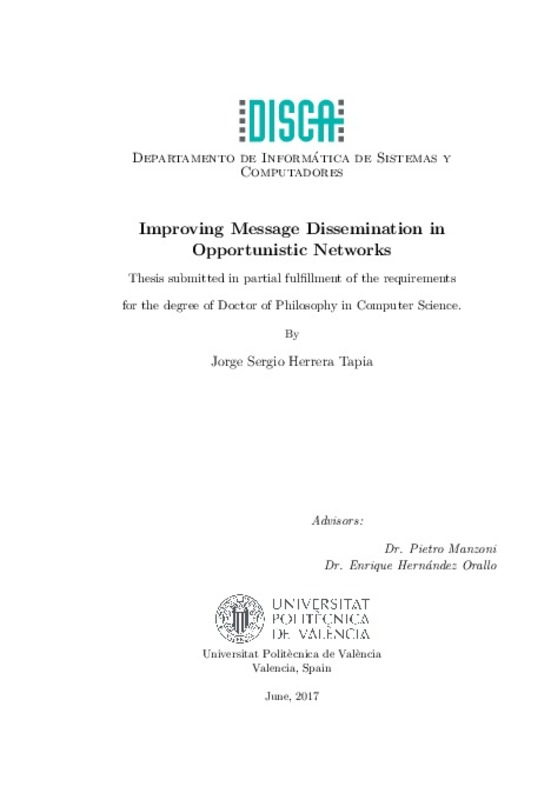Improving Message Dissemination in Opportunistic Networks