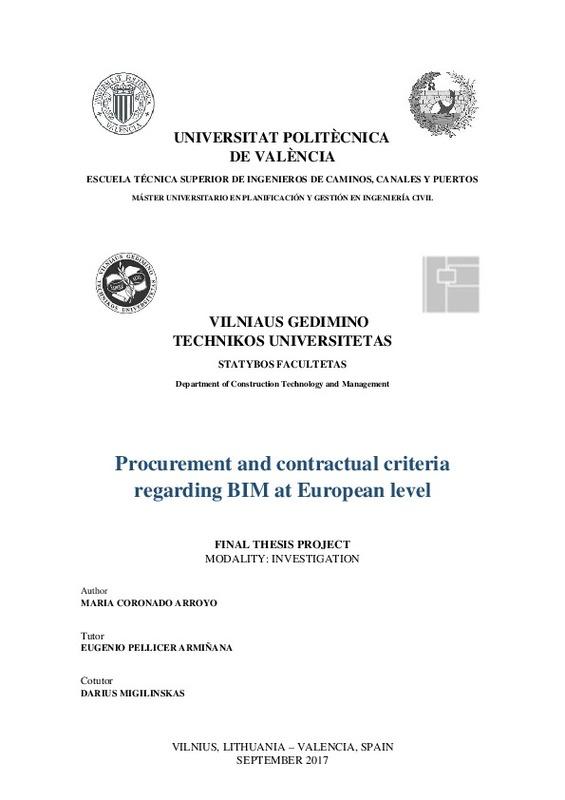 Procurement and contractual criteria regarding BIM at