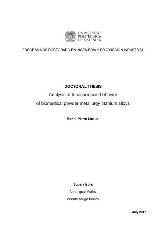Analysis of tribocorrosion behavior of biomedical powder