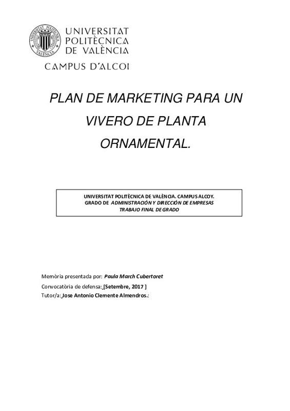 Plan de marketing para un vivero de planta ornamental for Plan de negocios de un vivero de plantas