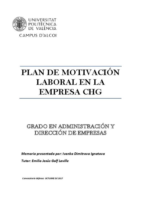 Plan De Motivación Laboral En La Empresa Chg